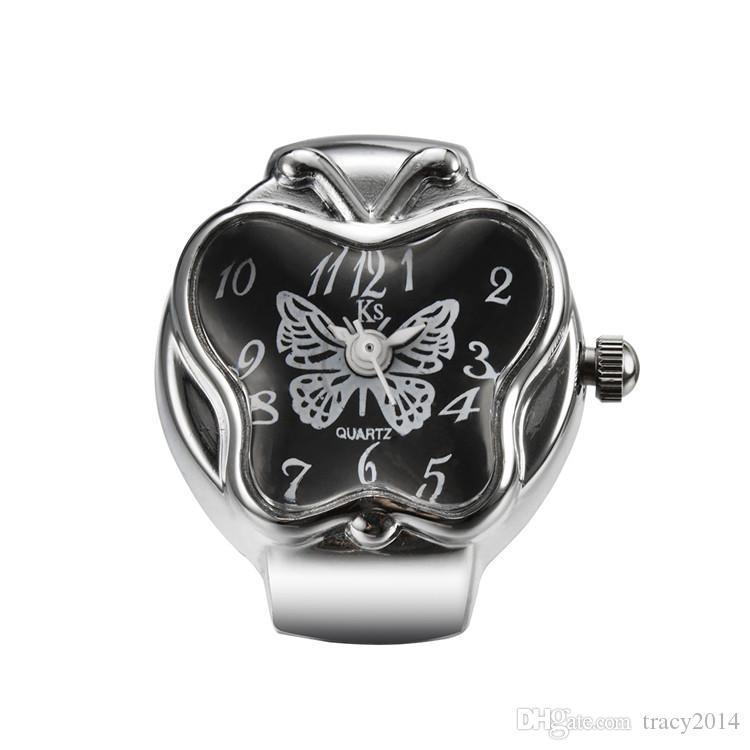 Fashion Stretch Butterfly orologi apple orologi orologio creativo Metal Finger Ring Watch Moda argento 925 placcato orologi Ring Watch