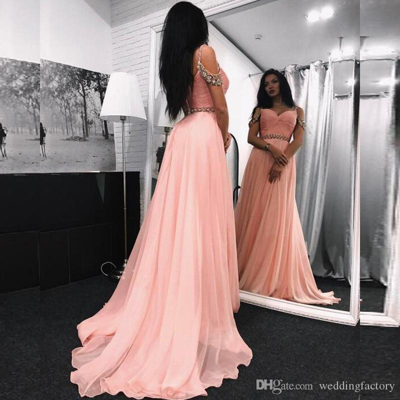 45f893097c14 Elegant Blush Pink Beaded Prom Dress Long Formal Evening Party Gowns  Spaghetti Straps Off The Shoulder Prom Dresses Sweep Train Corset Prom  Dresses Formal ...