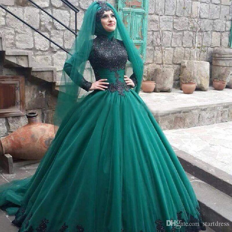 Elegant Turquoise Abrabia Muslim Evening Dress High Neck Ball Gown Long Sleeve Prom Dresses Applique Lace Hijab Dubai Dresses Party Evening