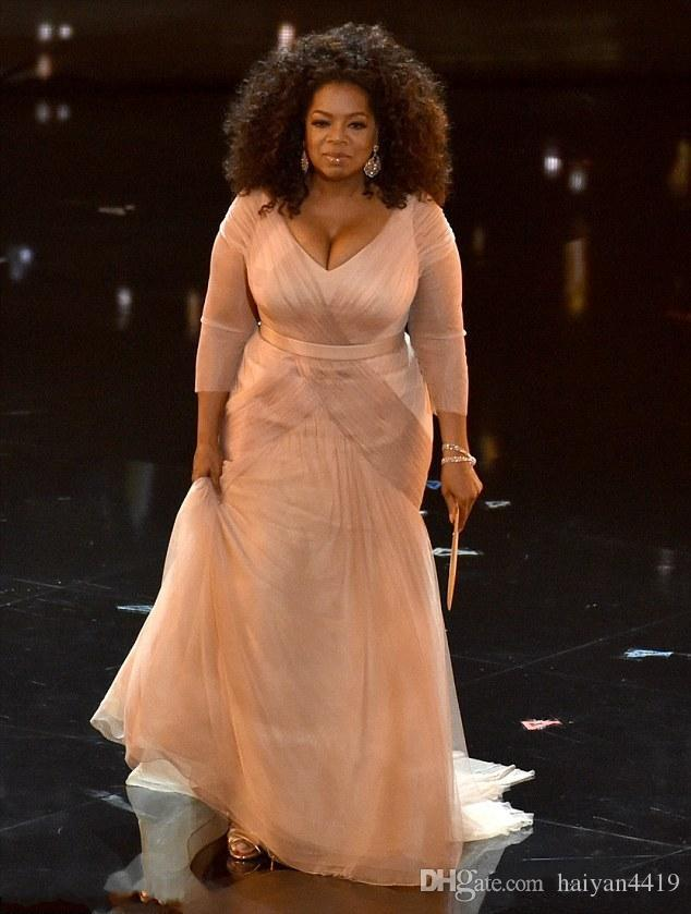 2016 Cheap Oprah Winfrey Oscar Celebrity Dresses plus size v neck sheath tulle with long sleeves Sweep Train Draped evening Dresses