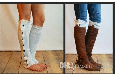 DHL Fedex Fashion Leg Warmer Button Crochet Knit Boot Socks Toppers Cuffs for Girls Lady woman U pick