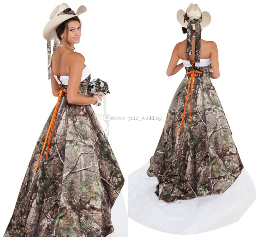 Discount Elegant Strapless Camo Wedding Dresses Satin Tulle Corset Lace Up Camouflage Dress Country Cowgirls Bridal Sweep Train Buy