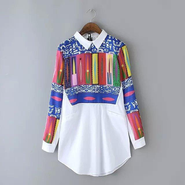 여성 블라우스 탑 옷깃 가슴 국가 인쇄 긴 소매 셔츠 유럽과 미국 여성 의류 인쇄 긴 소매 셔츠