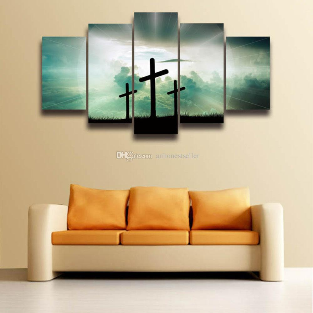 2018 5 Panel Painting Canvas Wall Art Christian Cross Modular Picture Hd Prints Poster Artwork For Home Decor Living Room Bedroom From Anhonestseller ... & 2018 5 Panel Painting Canvas Wall Art Christian Cross Modular ...