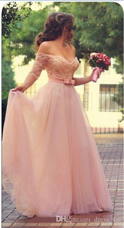 Горячие продажи румяна розовый платья невесты линия с плеча кружева тюль длина пола длинные вечерние платья жемчуг рукава створки EN12042
