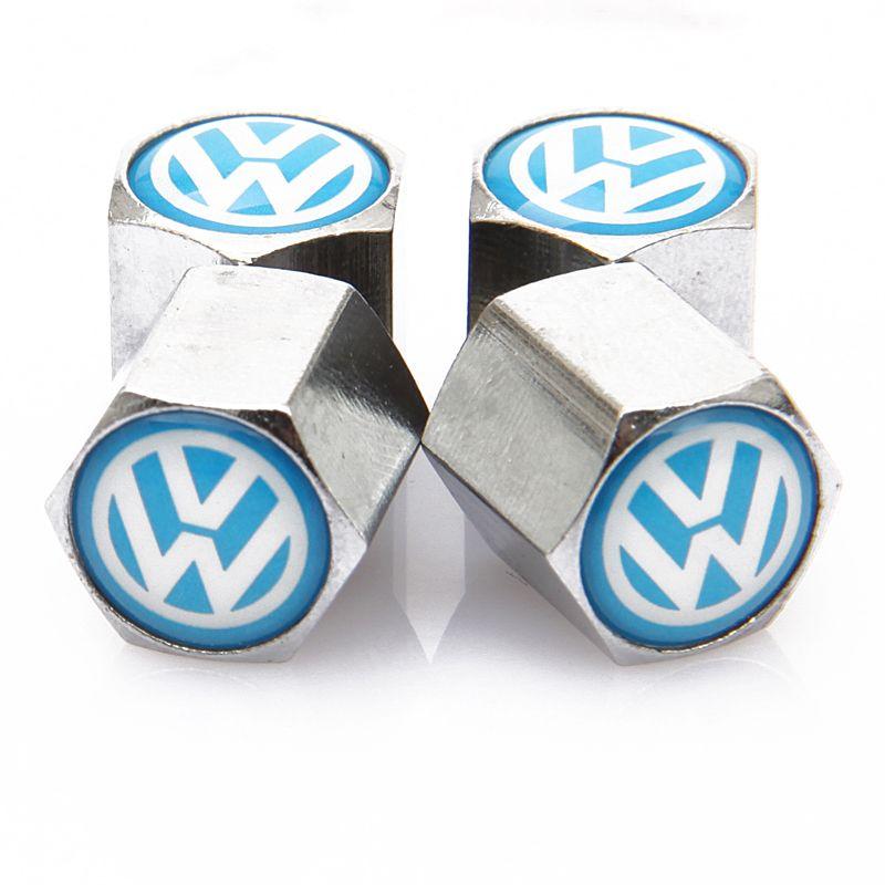 Lockable Blue VW Anti-Theft Dust Cap Tire valve caps With Car Logo Badges Emblems Blue VW With Retail Box SZYX-0020