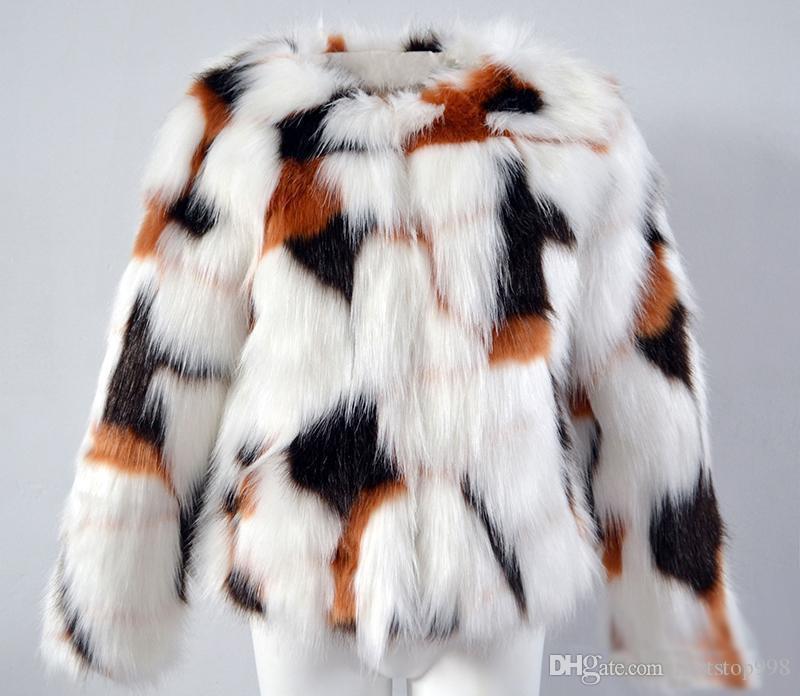 2018 Nouveau Faux De Fourrure Veste Outwear Pour Femmes Recadrée Patchwork Manteau De Fourrure D'hiver Chaud Puff Veste De Mode Fête De Noël Manteau