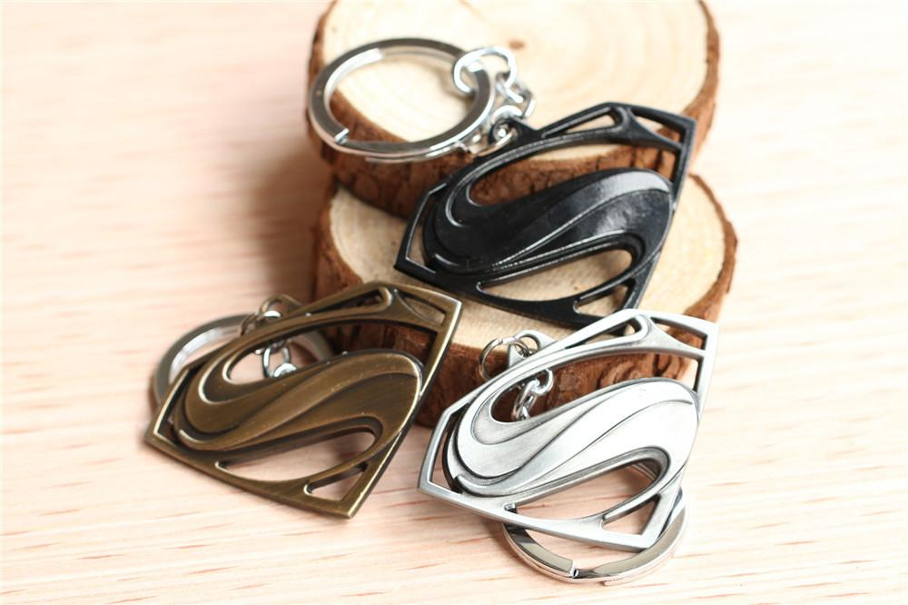 Superman Logo Metal Black/Silver/Bronze Keychain Personalized Keyring Accessories Key Chain10pcs/lot Movie Jewelry