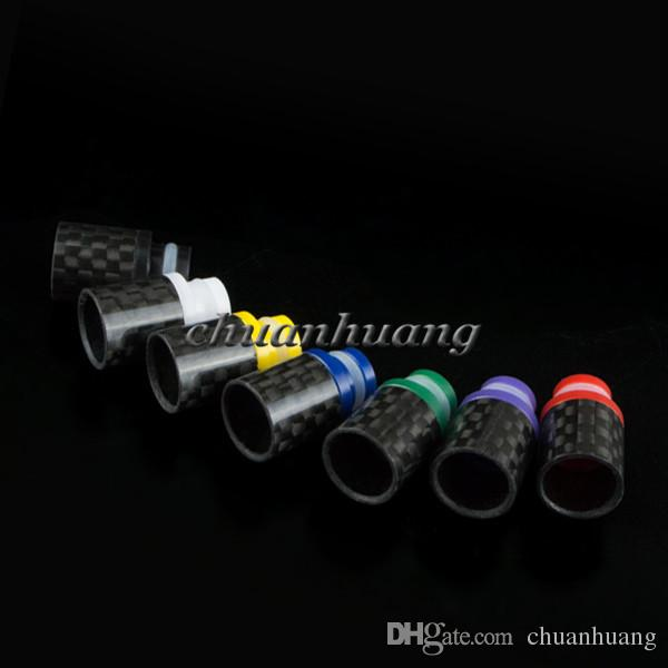 Delrin & Carbon Fiber Drip Tips Flat wide bore Drip Tip 510 EGO Atomizer Mouthpieces for RAD EE2 DCT EVOD CE4 tanks ecigarette mod