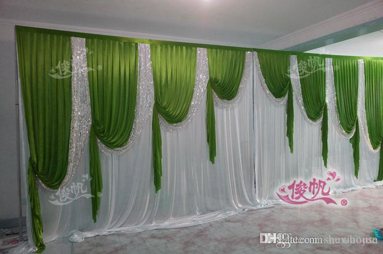 Fast Delivey 3x6m Classic White Wedding Backdrop With Green Beatiful