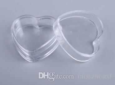 500 adet / grup Kalp Şekli 4g Temizle Plastik Örnek Konteynerler Kapaklı Mini PS Kavanoz Boş Kozmetik Ambalaj Pot Kutusu
