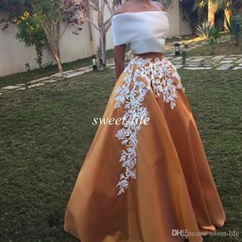 Vintage Lace Off Ombro Vestidos de Festa de Baile A Linha de Duas Peças Até O Chão Vestido Formal Vestidos de Noite 2019 Árabe Árabe Vestido de Fiesta