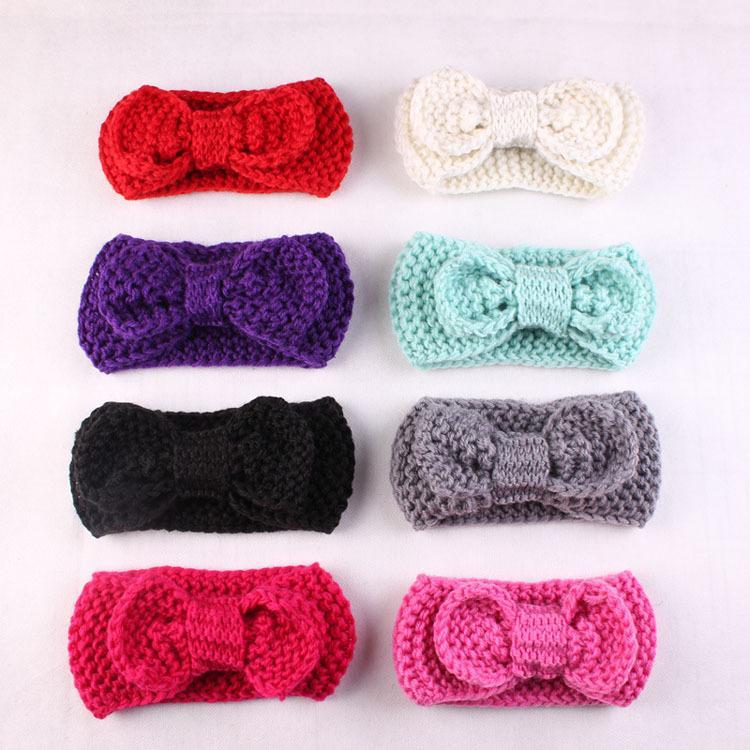 Мода шерсть лук Вязание крючком вязать лентой цветок зима ухо теплее обернуть голову повязки бантом волосы застежка детские аксессуары для волос 8 цветов