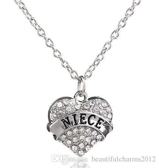 Clear Rhinestones Heart Pendant Necklace With Aunt Blessed Hope Mom Grandma Daughter Etc. Word Letters Fit For Family Gift