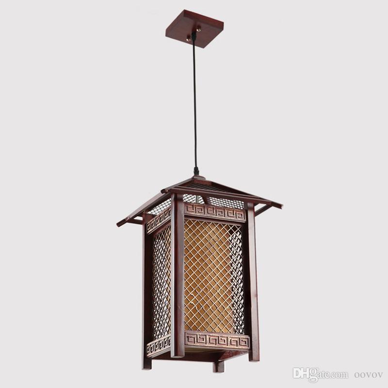 Vintage Wooden Dining Room Pendant Lamp Classic Balcony Hallway Entrance Pendant Lamps Teahouse Shops Pendant Lights