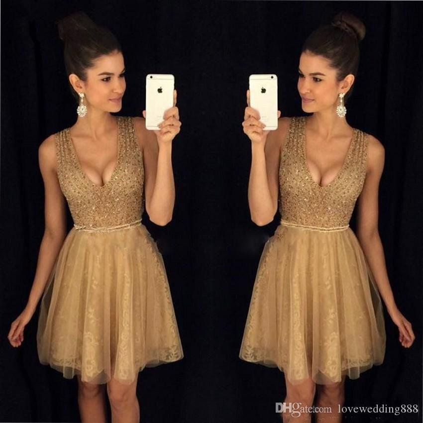 Elegant Champagne Short Dresses