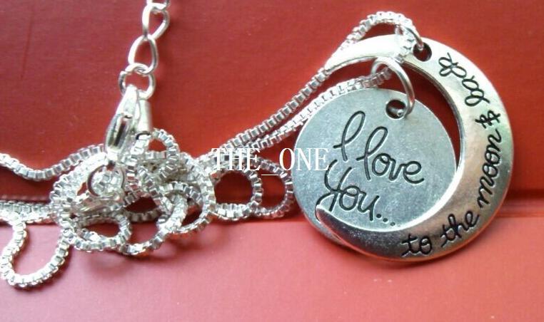 Ich liebe dich zum Mond und zurück Halskette Runde zwei Stück Anhänger Mond Halskette Weihnachtsgeschenk Kette 2MM 18 Zoll Sonne und Mond Halskette