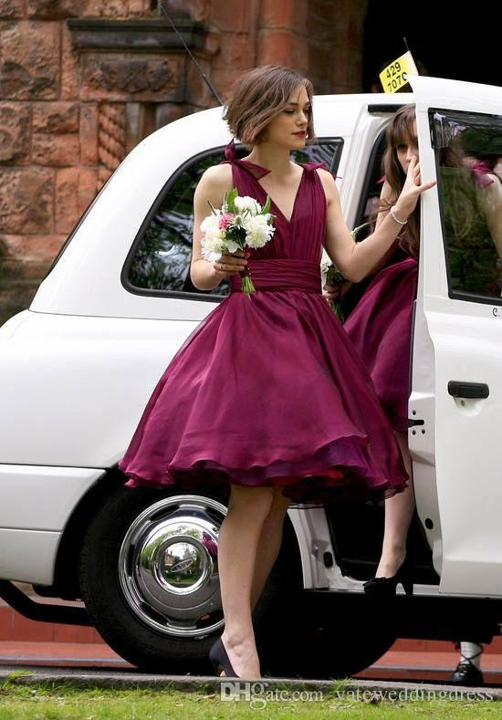 Short Burgundy Bridesmaid Dresse Deep V Neck Plunfing Chiffon Cheap Bridesmaid Dress 2015 Winter Custom Made Puffy Formal Gowns 2016