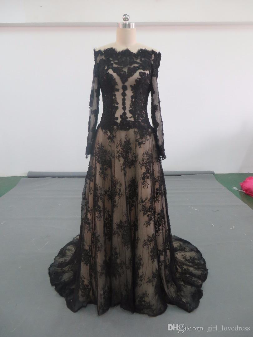 Compre Fotos Reales Elegante Sirena De Encaje Largo Negro Vestidos De Noche Musulmanes Por Encargo De Encaje Hasta El Piso Flor Verde Vestido De