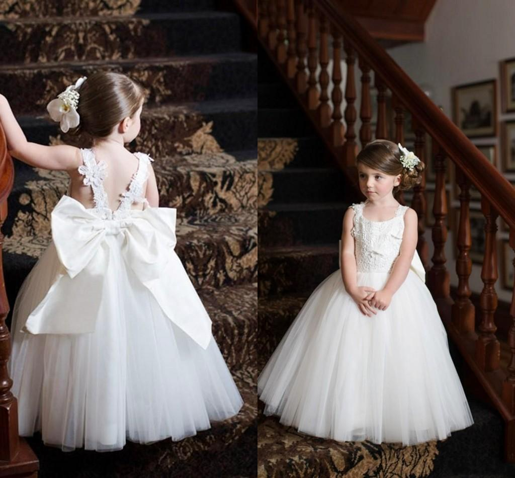 Kids White Ball Gowns Lace Applique Big Bow Sash Flower Girl'S ...