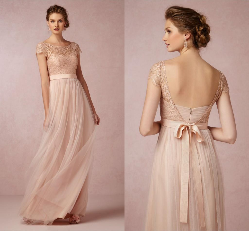 Blush Lace 2016 Prom Gowns Scoop Neck Bridesmaid Dresses With ...