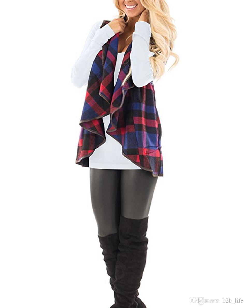 Mulheres Casuais Xadrez Sem Mangas Cardigan Colete Casaco Jaqueta Solta Terno Colete Outono Quente Casaco Casacos OOA3825