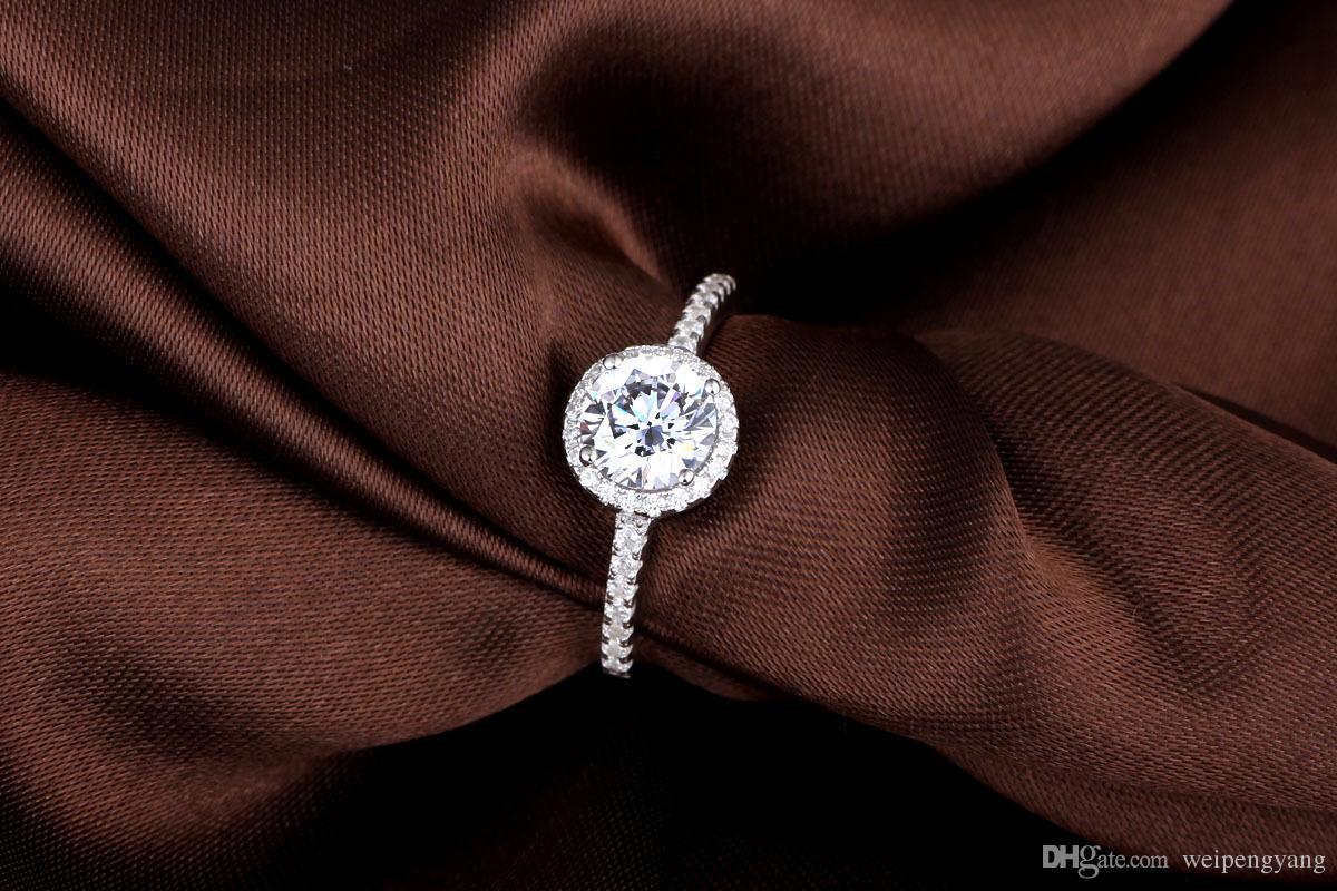 ForLove Two Gifts Luxury Simulated CZ Diamond Genuine 925 anillos puros de plata esterlina para el anillo de diamantes simulado