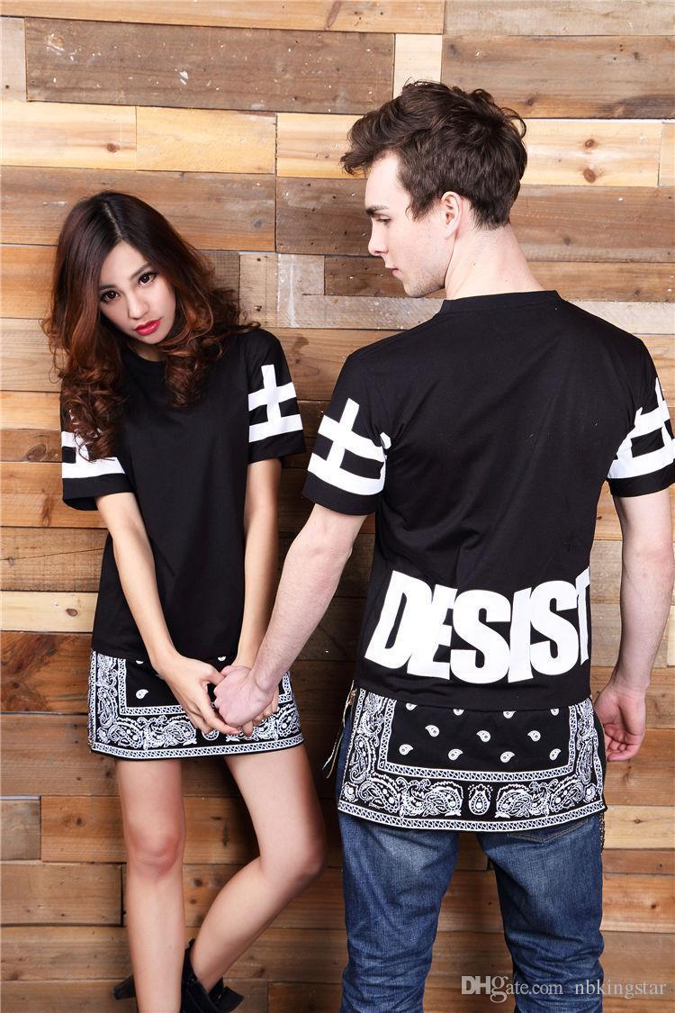 S-XXL Paisley Print Punk Hip Hop Tops Desist Cessar Bohemian Floral with Zipper Tee Couples T-shirt