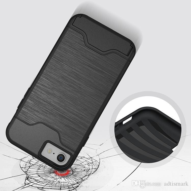 فتحة لبطاقة القضية للحصول على اي فون X 8 درع حالة قشرة صلبة الغطاء الخلفي مع حالة مسند ل iphone 6 6 زائد 7 7 زائد