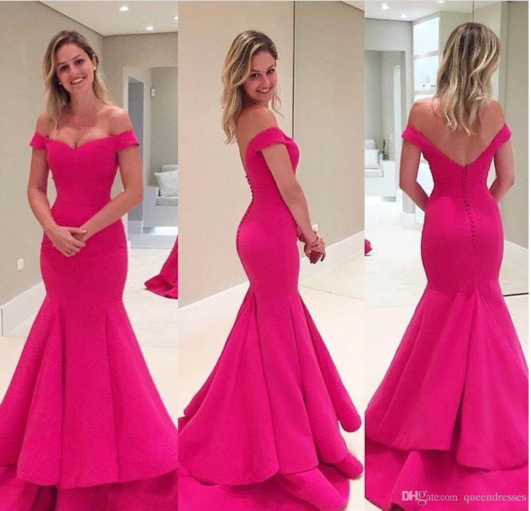 Compre Vestidos De Noche Largos Rosados baratos De La Sirena Del ...