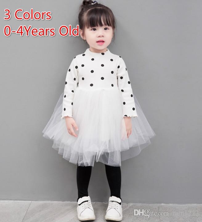 Spring Autumn Tutu Dress for Girls Baby Long Sleeve Dot Tulle Dresses Princess Pleated Bow TUTU Dress Kids Babies Panelled Belted Dresses