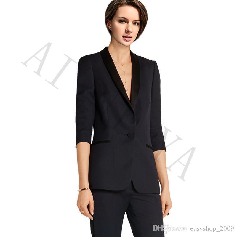 Jacket+Pants New Women Business Suits Blazer Black One Button Female Office Uniform Formal Evening Prom Slim Ladies Trouser Suit