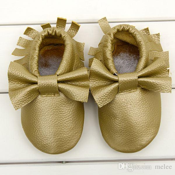 Free Ship 2015 New Tassels & Bow 2 Style Baby Moccasins Soft Moccs Baby Shoes Kids Genuine Leather Newborn Baby Prewalker Babe Infant Shoes
