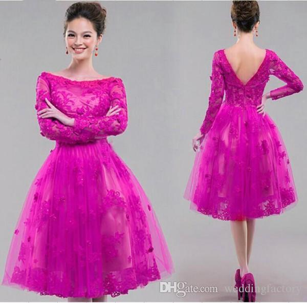 Vintage Lace Aplikacje Długie Rękawy Party Dresses Linia Bateau Neckline Illusion Długość Kolana Krótkie Tulle Prom Suknie Royal Purple Fuchsia