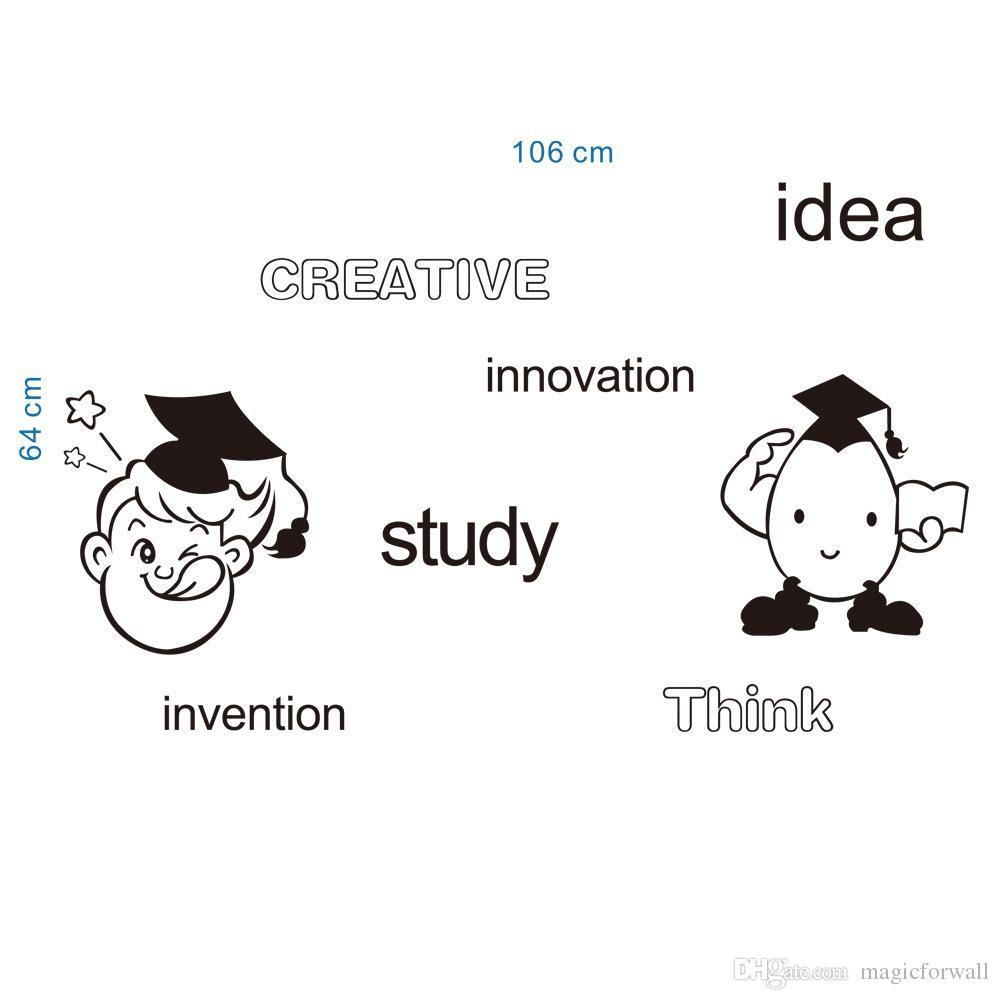 Творческая Идея Исследование Инновации Думаю Изобретение Английские Слова Стены Искусства Настенной Росписи Декор Мультфильм Мальчики Девочки Комната Стены Цитата Наклейка