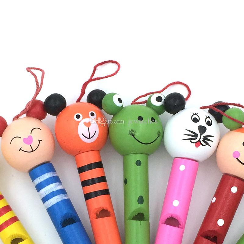 Baby Kids Cartoon Animal Whistle Party Noise Maker Children Wooden Toys Wholesale DHL & FEDEX