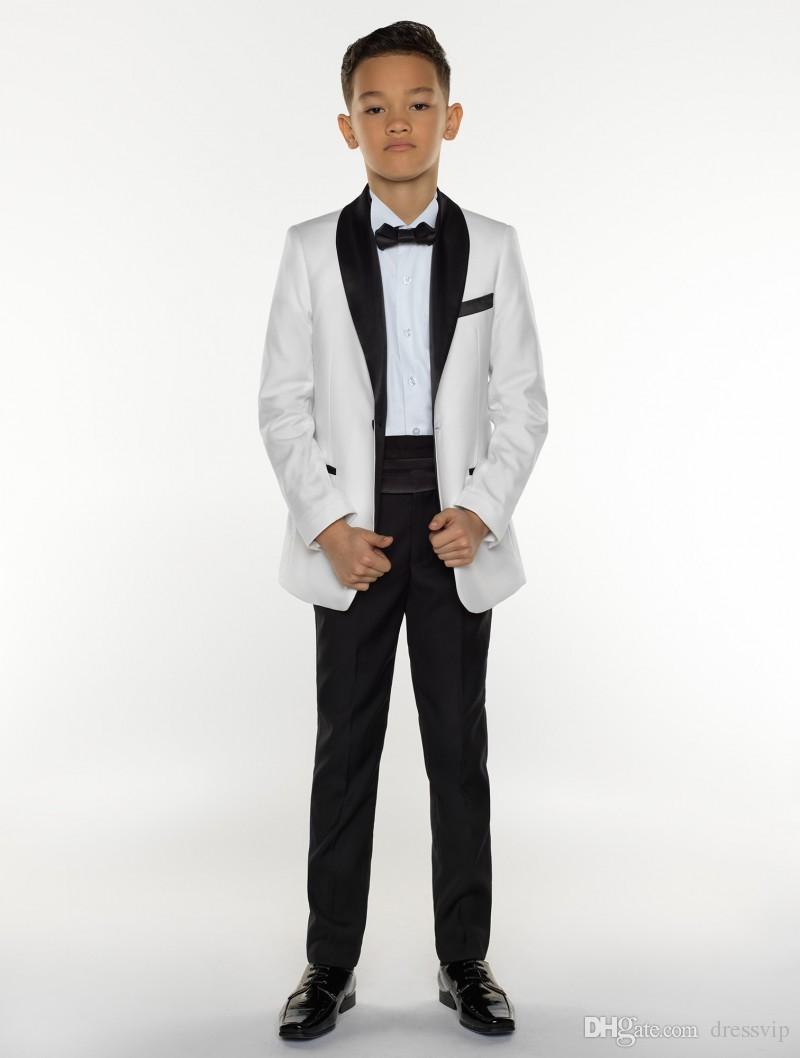 Meninos Tuxedo Meninos Jantar Ternos Meninos Ternos Formais Smoking para Crianças Tuxedo Ternos Formais Ocasião Branco E Preto Para Meninos Três Peças