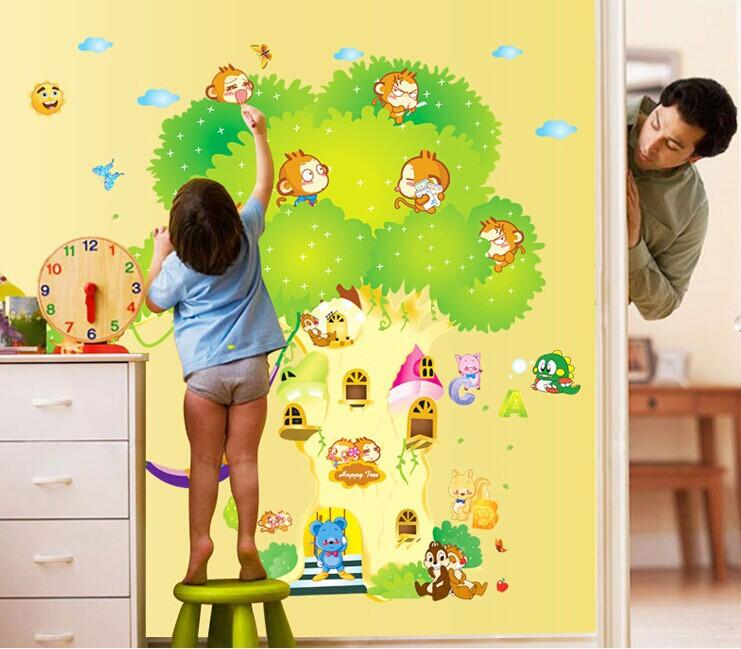 DIY Animal House Tree Wall Stickers Kids Room Decor Bedroom Wall Covering  Painting Sticker Adesivo De Parede Home Decoration Decorative Wall Paper  Art ...
