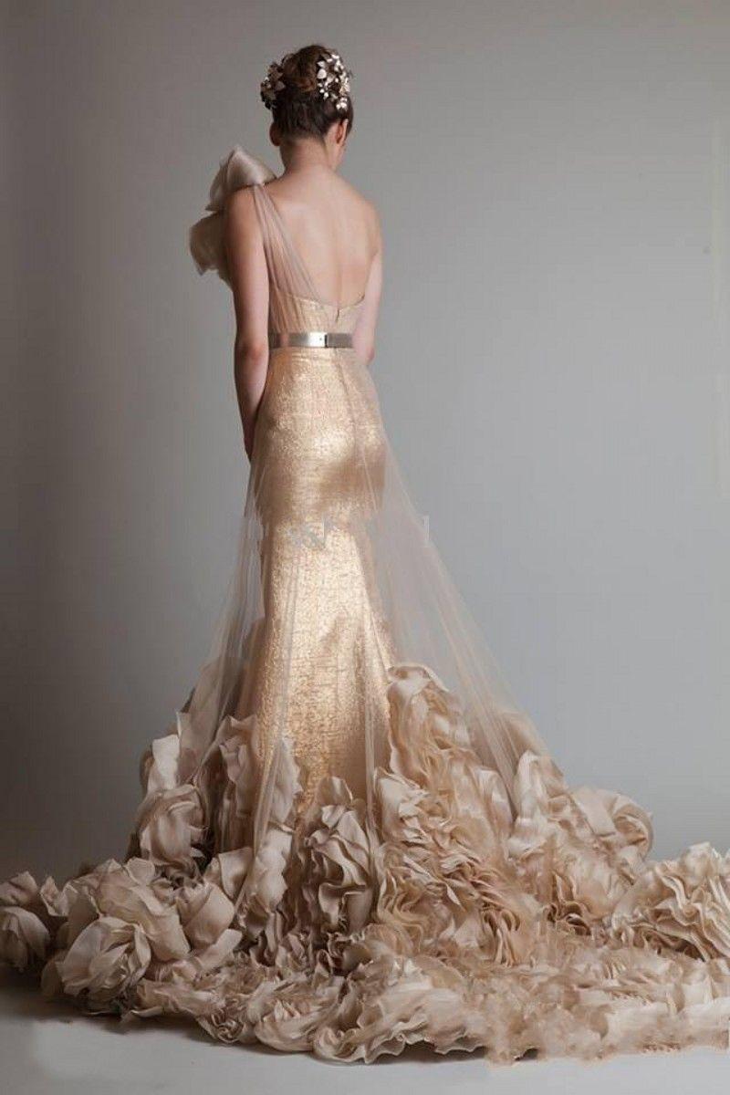 2019 Neue Luxuriöse Sexy Gold Ärmellose One Shoulder Meerjungfrau Trompete Zuhair Murad Brautkleider Mit Blume Und Schärpe 260
