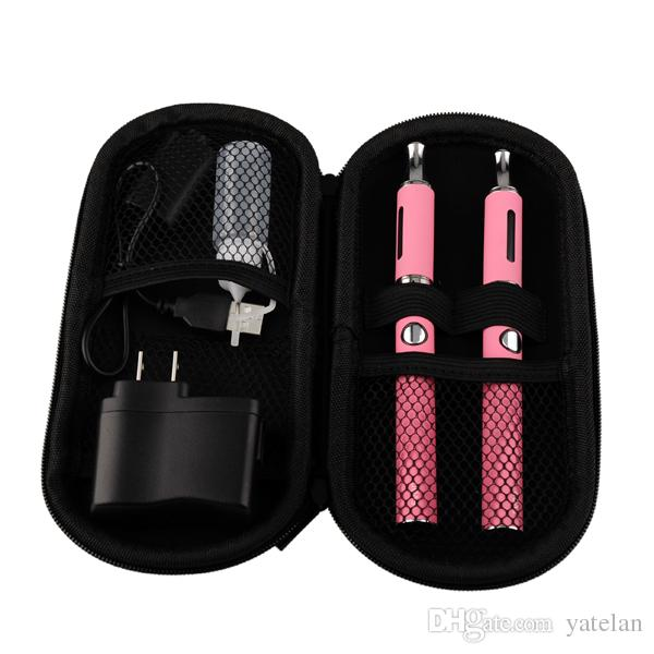 Evod Double Starter Kits with 2ml EVOD glass Atomizer Evod Battery 650 900 1100mah USB Charger Ecig Zipper Case Kit DHL free