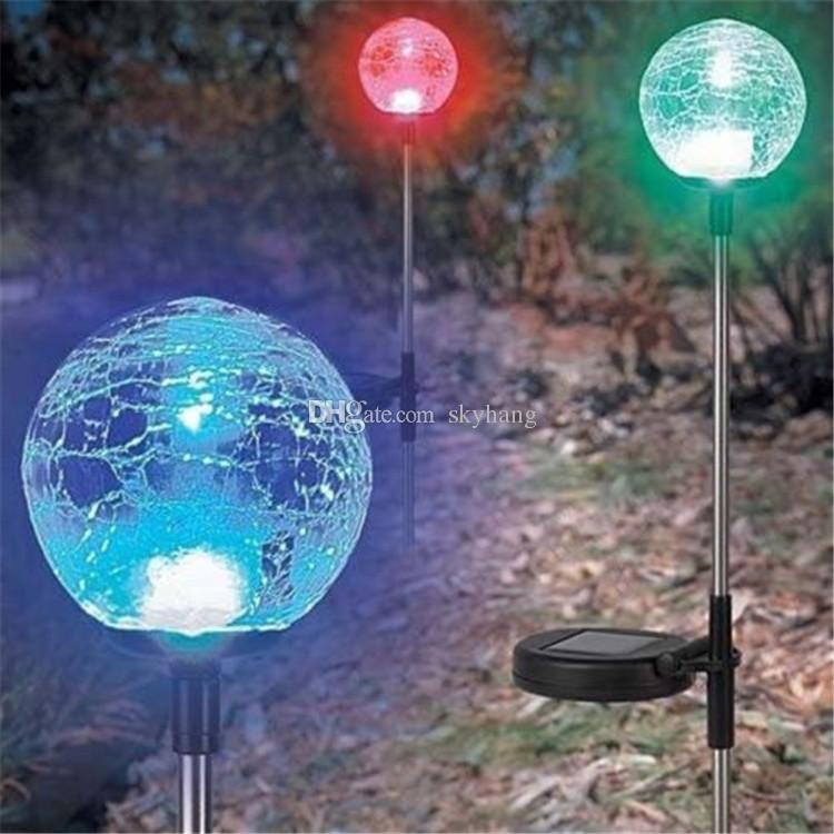 2017 Led Crackled Glass Ball Garden Lights Solar Powered Outdoor