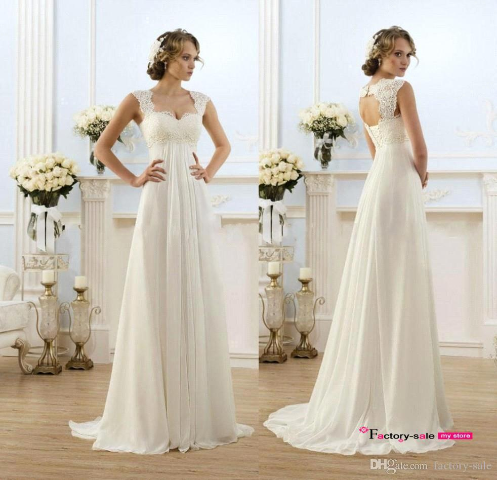 New Sexy Beach Empire Maternity Wedding Dresses Cap Sleeve Keyhole Lace Up  Backless Chiffon Summer Pregnant Bridal Gowns Sparkly Wedding Dresses  Wedding ... e8d12ca3a