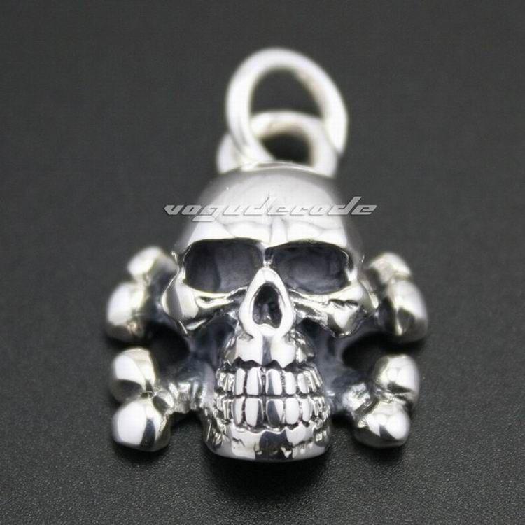 Skull Cross Bone 925 Sterling Silver Mens Biker Rocker Punk Pendant 8C010Necklace 24inch