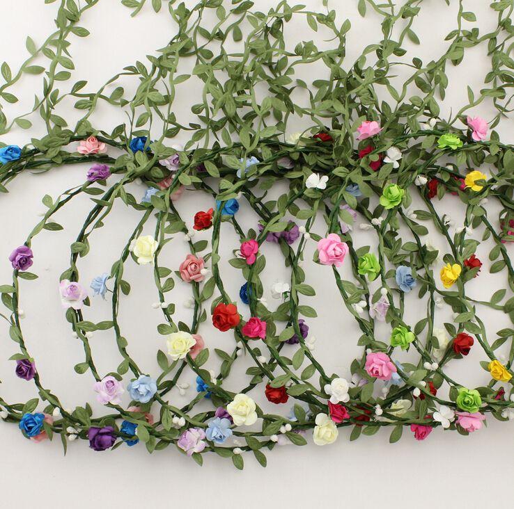 Hecho a mano de flores Novia Bohemia Flor Diadema Festival de Navidad Floral Garland Banda para el cabello Sombrero Sombrero para niña