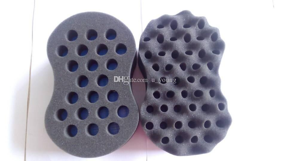 New Double Side Barber Hair Sponge Brush For Dreads Locking Twist Coil WAVE Blue High Quality