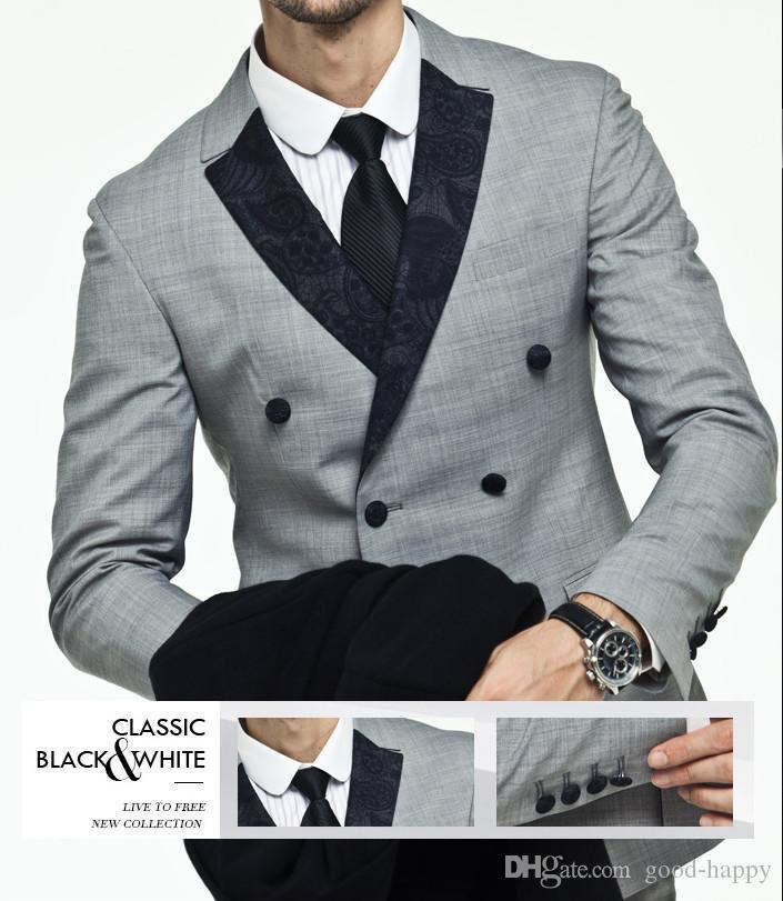 Side Vent Light Grey Suit Groom Tuxedos Slim Fit Double Breasted ...
