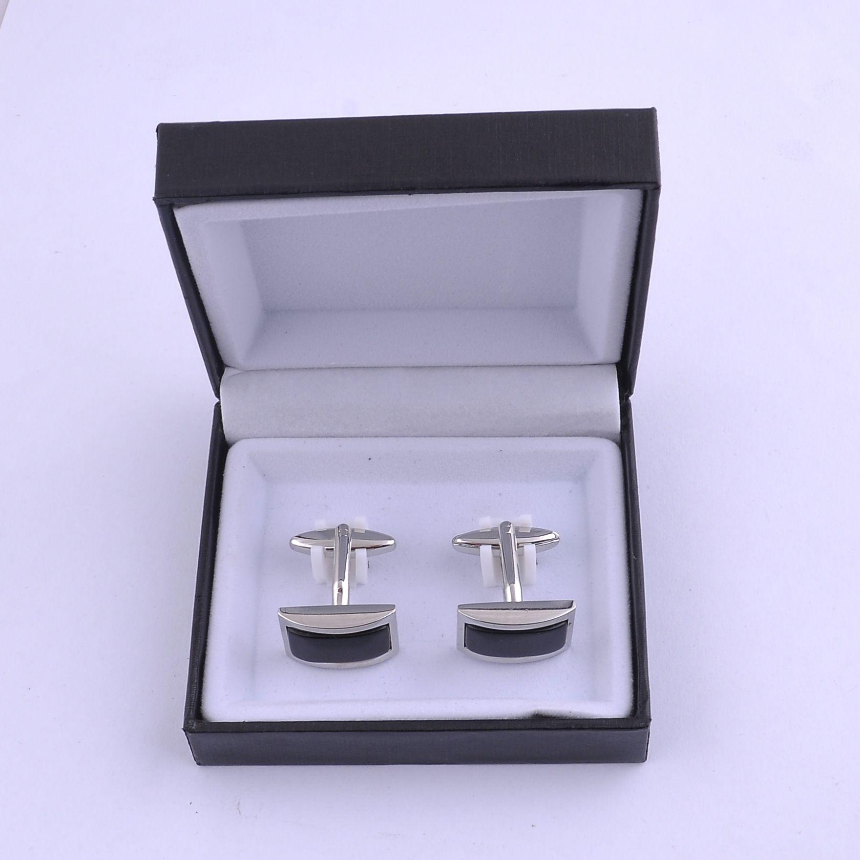 Grado superior negro terciopelo plástico caja de gemelos cajas de joyas mejor caja de regalo para gemelos venta caliente