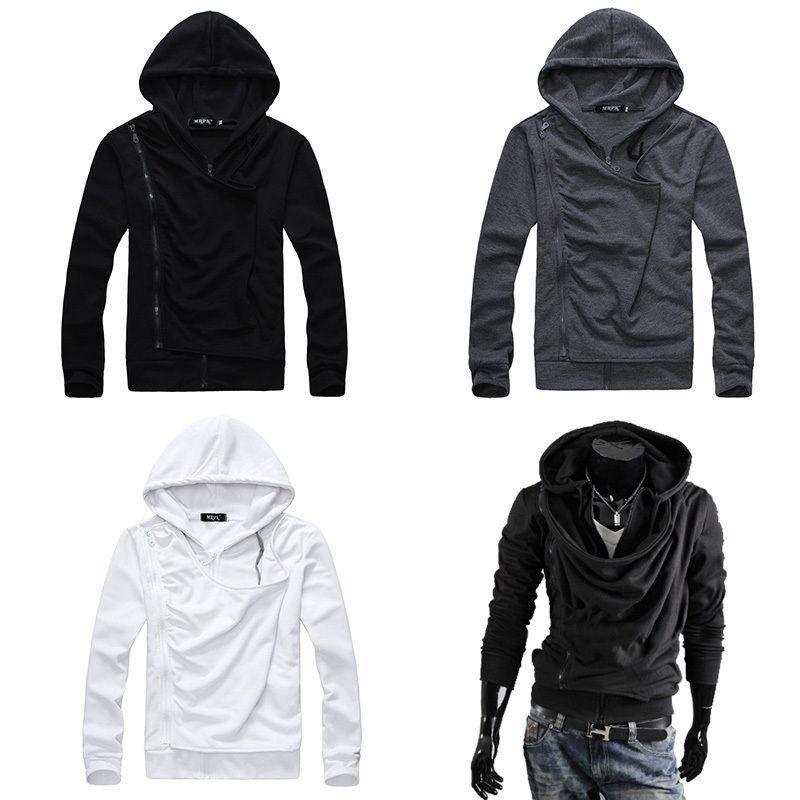 2017 Chic Men Oblique Zipper Fleece Hoodies Cowl Neck Design Tops ...