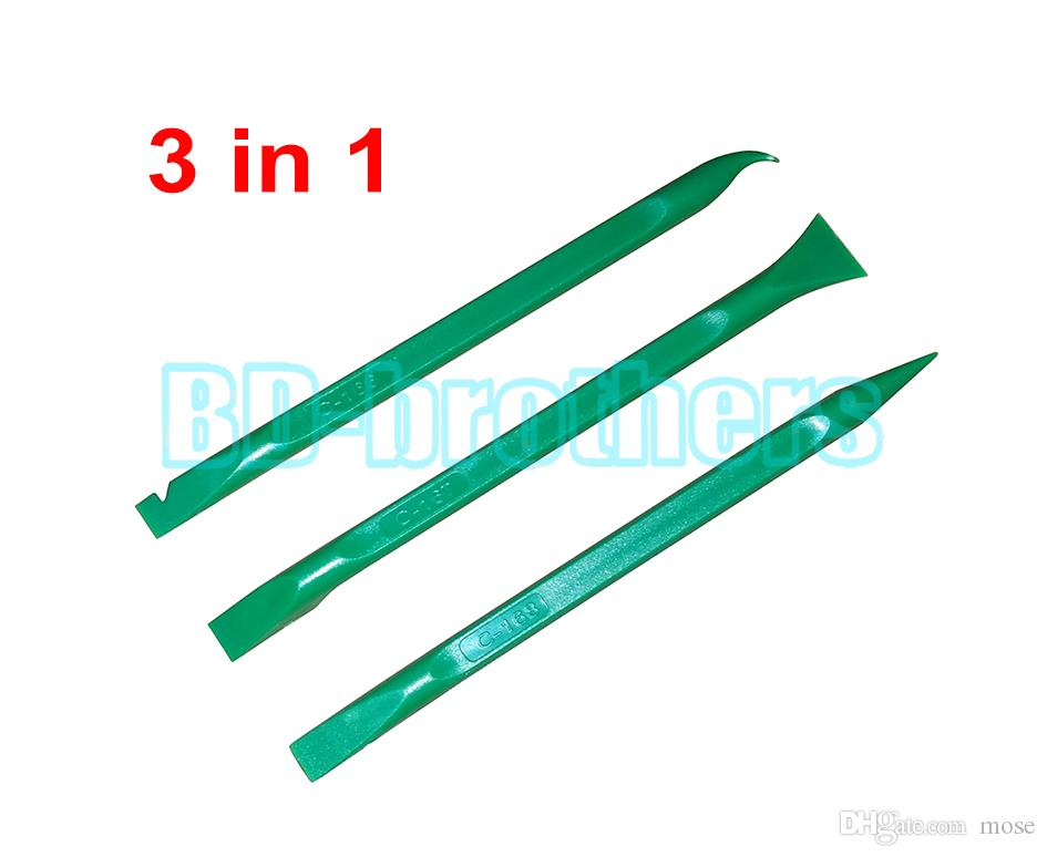 3 in 1 Green Pry Tool,155mm Prying Opening Tools Plastic Crowbar for Phone Tablet PC Flat Cable / Screen / Housing Repair