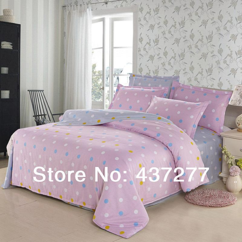 discount simple polka dot pink and gray cotton bedding set for full queen 300 tc reversible. Black Bedroom Furniture Sets. Home Design Ideas
